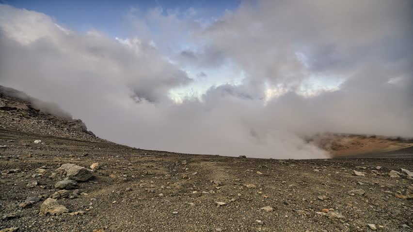 4k, Clouds drifting through volcanic mountain range time lapse, Haleakala, Maui, Hawaii - 4K stock footage clip