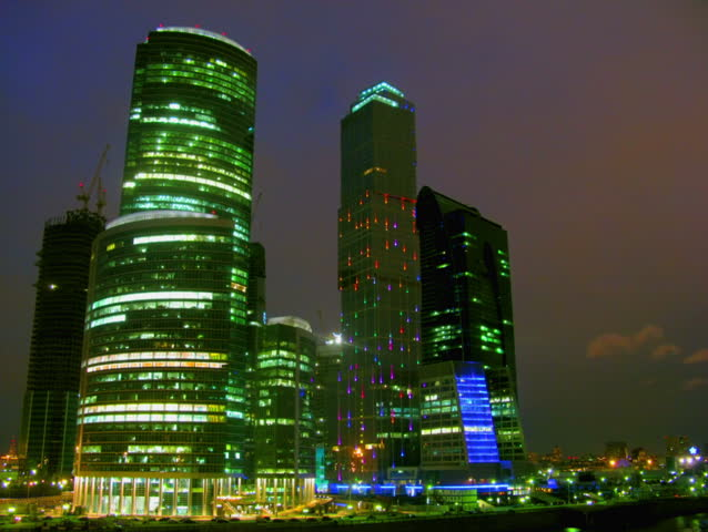 Business center Moscow City at night. Time lapse. - HD stock video clip