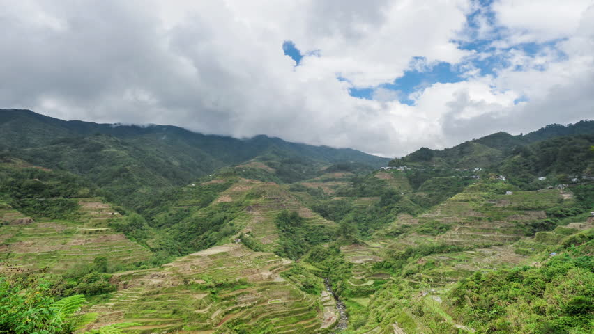 Philippines rice terraces in Ifugao world heritage site. Clouds timelapse over rice paddies