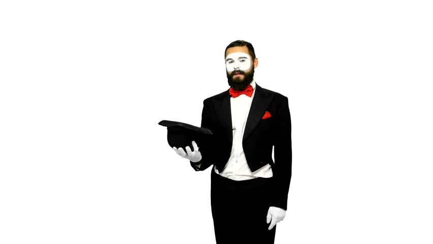 Funny, bearded, young man mime making magic in his hat and taking dollars on white background
