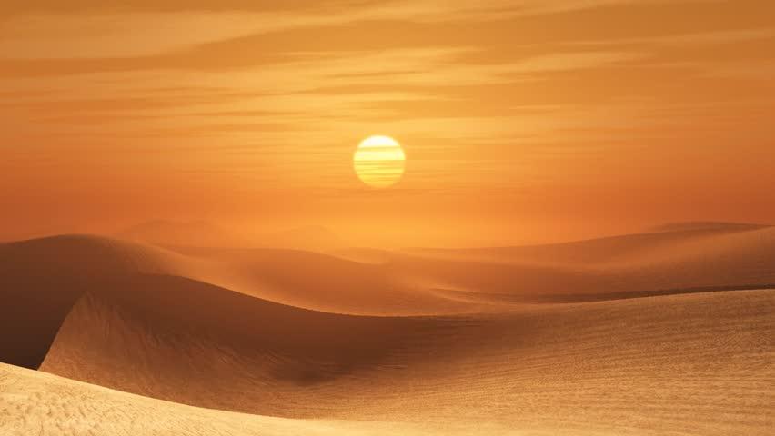 Desert sunset - HD stock video clip
