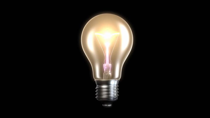 Light Bulb On Black Background Stock Footage Video 3371102