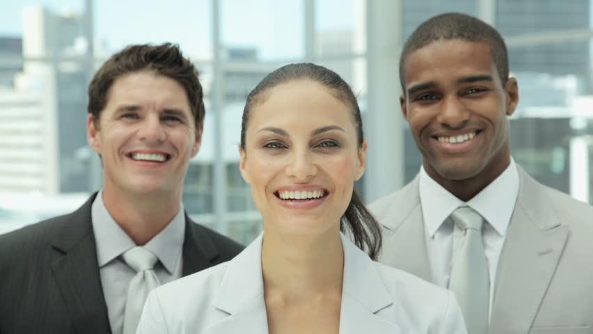 Happy Business Team Portrait - HD stock footage clip