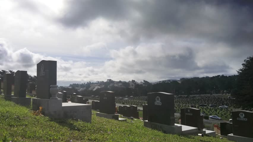 Daly City, California - March, 2015 - Static shot of a Chinese cemetery.