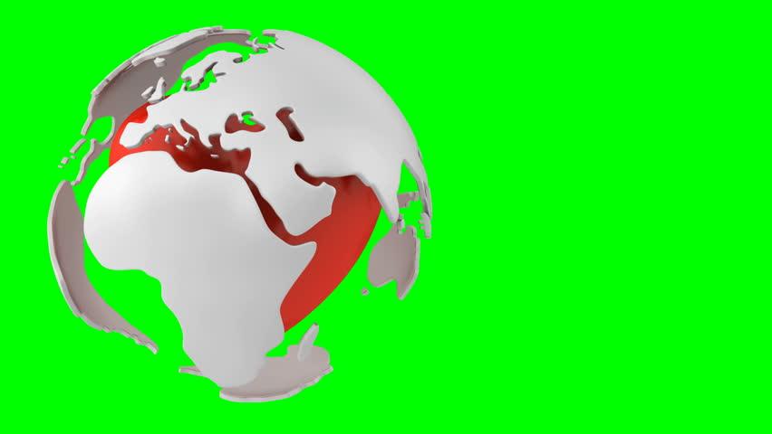 Rotating globe with pulsing heart inside, green screen