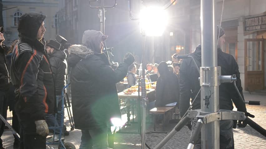LVIV, UKRAINE - MARCH 25: Work of a film crew. Shooting of advertising of the Lviv beer on Mart 25, 2015 in Lviv.