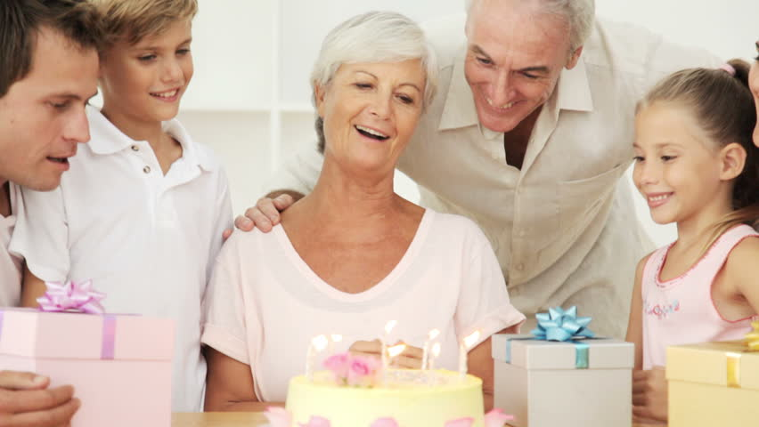 Birthday Party for a Grandmother - HD stock footage clip