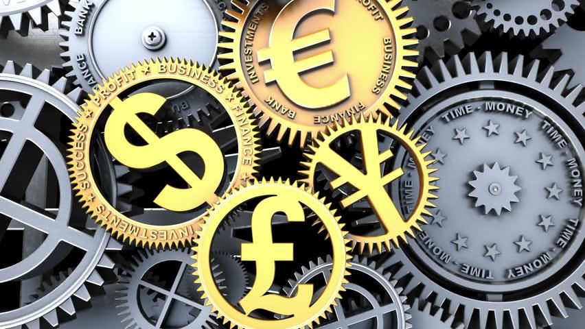 Time-Money concept. Fantasy business clockwork. Camera flying through clockwork mechanism. Metaphorical 3d animation