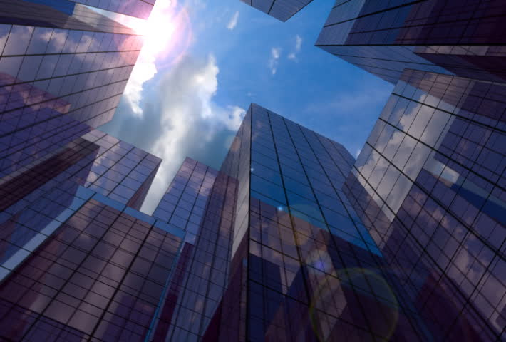 20 Seconds loop of corporate buildings with lens reflections - SD stock video clip