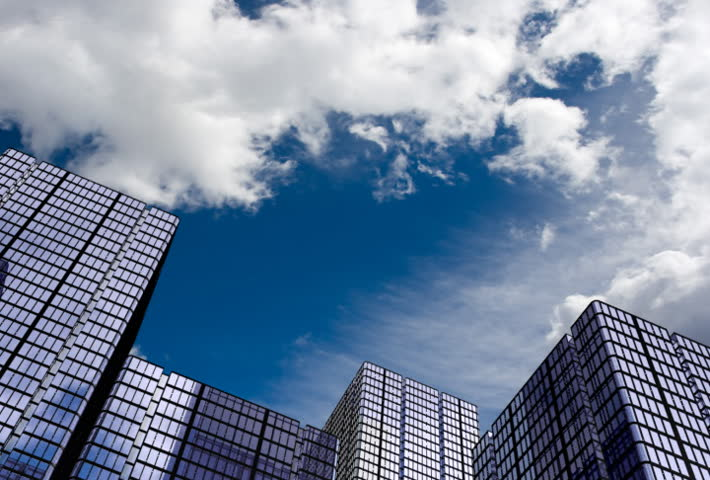 Corporate buildings and time lapse clouds. - SD stock video clip