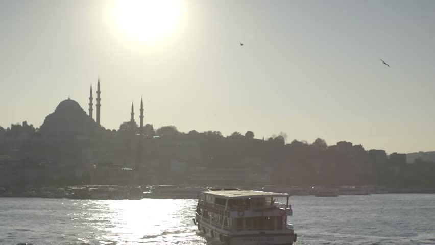 Istanbul, Turkey, October, 2014. A Time-lapse of the sun coming down from day to night-Sunset, showing a famous mosque in Istanbul, Turkey. - HD stock footage clip