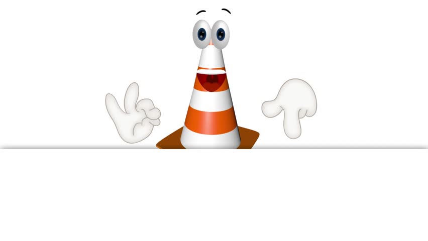 construction cone site wait inactive funny cartoon illustration - HD stock video clip