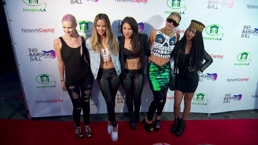 West Hollywood, CA - August 06,2014: GRL and Simone Battle and Lauren Bennett and Emmalyn Estrada and Natasha Slayton and Paula van Oppen at Imagine Ball 2014, House Of Blues - HD stock footage clip