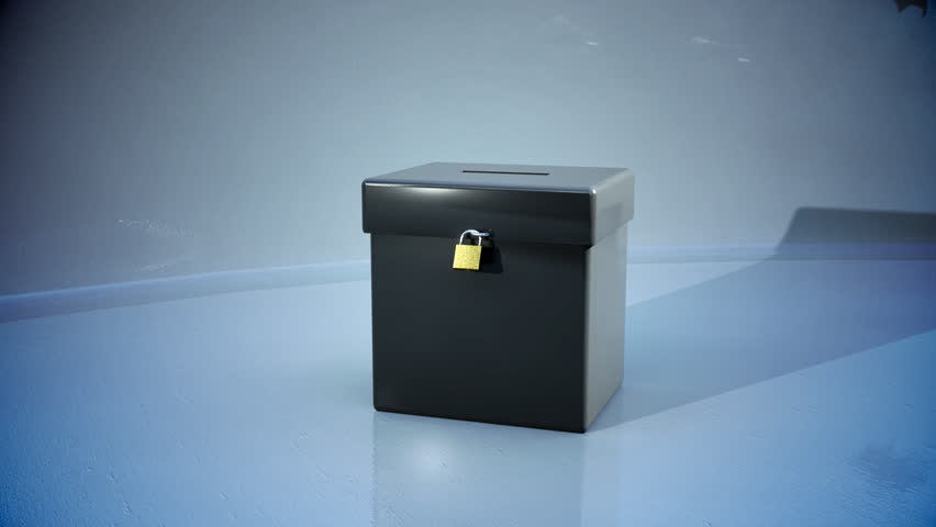 ballot box with votes flying into it  - HD stock video clip