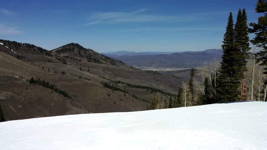 Park City, Utah - April, 2015 - On the snow topped mountains of Park City Utah.