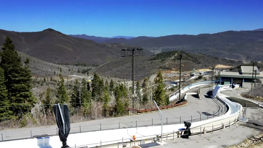 Park City, Utah - April 2015 - UHD footage of the bobsled track at Olympic Park.