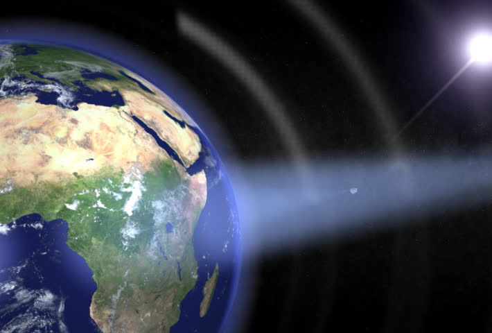 Communication satellites orbiting the rotating earth with visible beams. 3D Render. Seamless loop. NTSC Also available in HDTV Clip ID: 67930  - SD stock video clip