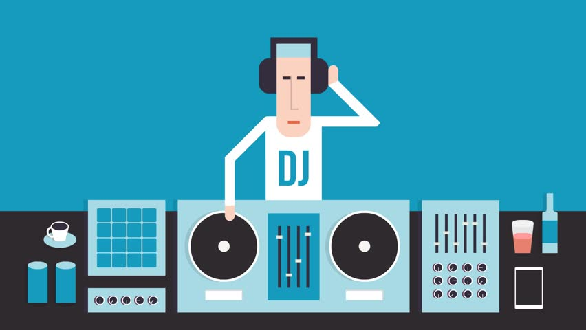 DJ with turntables, dance music, flat design, on a blue background