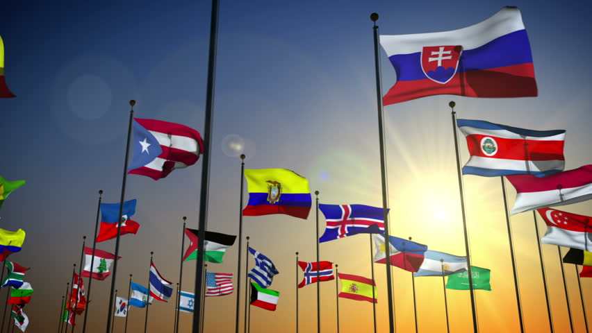 1080p stock video the Nations flags against the sky with camera panning by slowly - HD stock video clip