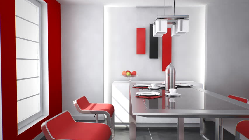 Home interior: Modern kitchen designed with red and white colors. - HD stock video clip