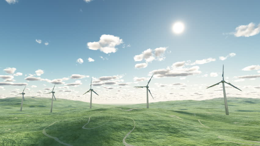 Wind turbines, time lapse - HD stock footage clip